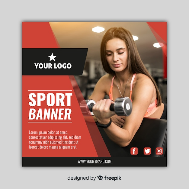 Banner de esporte moderno com foto Vetor grátis