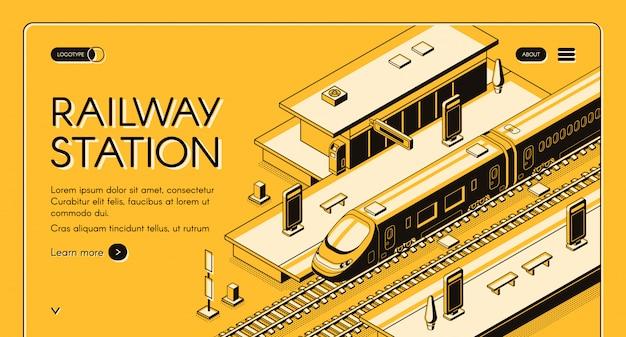 Banner de estação ferroviária web com trem expresso de alta velocidade parando Vetor grátis