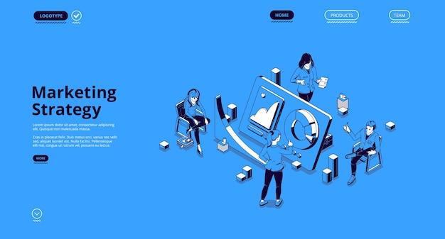 Banner de estratégia de marketing. conceito de análise e plano de promoção e publicidade da empresa. Vetor grátis
