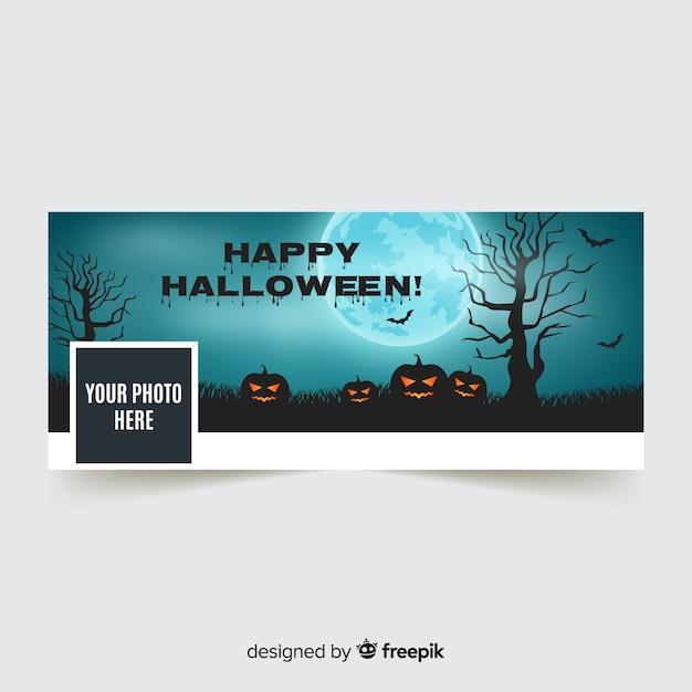 Banner de facebook moderno com conceito de halloween Vetor grátis