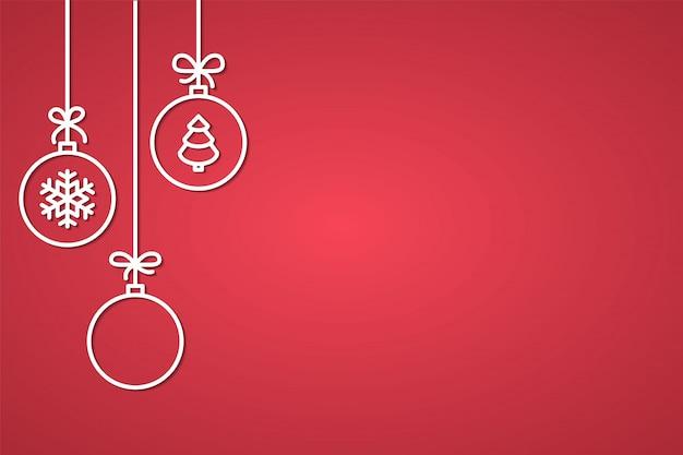 Banner de felicitações de natal e ano novo com bolas de árvore decorativa de linha Vetor Premium