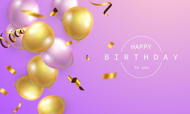 Banner de feliz aniversário fundo colorido de celebração Vetor Premium