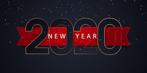Banner de feliz ano novo de 2020 Vetor Premium