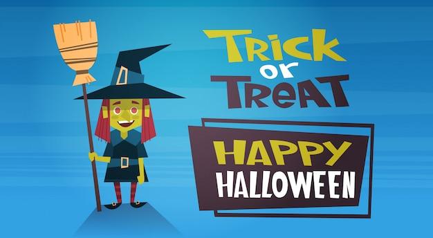 Banner de feliz dia das bruxas com bruxa bonito dos desenhos animados, truque ou deleite Vetor Premium