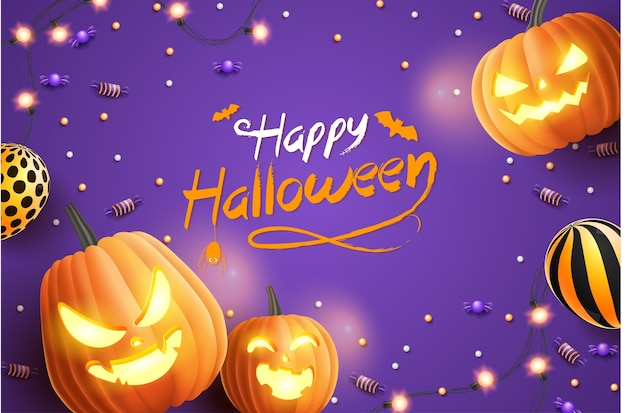 Banner de feliz dia das bruxas, com doces de halloween, guirlandas brilhantes, balão e abóboras de halloween em fundo roxo. ilustração 3d Vetor Premium