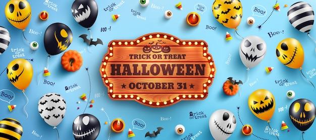 Banner de feliz dia das bruxas com texto de halloween em uma placa de madeira vintage e balões fantasmas de halloween Vetor Premium