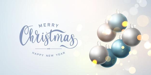 Banner de feliz natal e feliz ano novo Vetor Premium