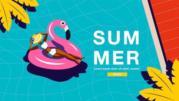 Banner de férias de verão Vetor Premium