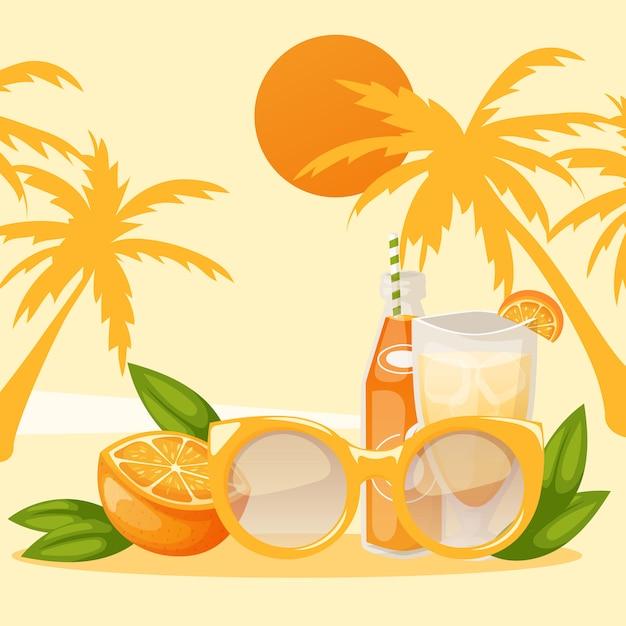 Banner de férias tropicais pedaço de laranja e garrafa de bebida ou suco com copos na praia Vetor Premium