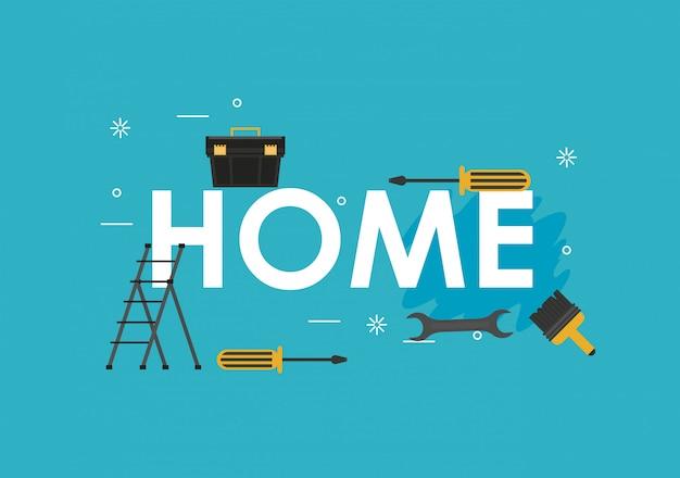 Banner de ferramentas para casa Vetor Premium