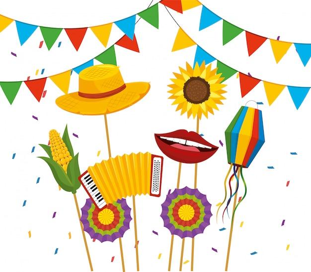 Banner de festa com chapéu e flores para festa junina Vetor Premium