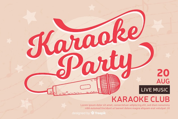 Banner de festa criativa para karaoke Vetor grátis