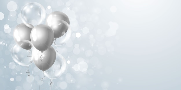 Banner de festa de comemoração com balões cinza Vetor Premium