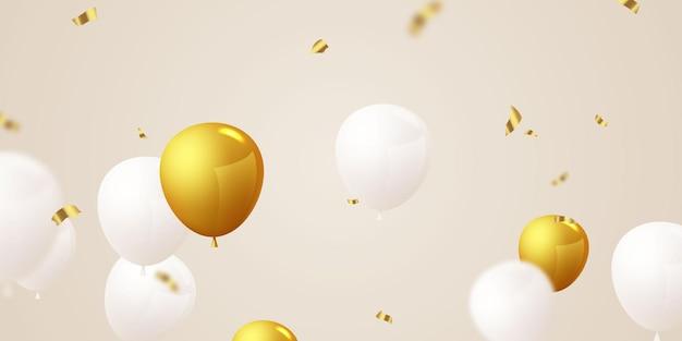 Banner de festa de comemoração com balões dourados Vetor Premium