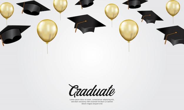 Banner de festa de formatura de conceito de educação com ilustração de cap Vetor Premium