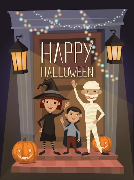 Banner de festa de halloween com crianças em trajes Vetor Premium