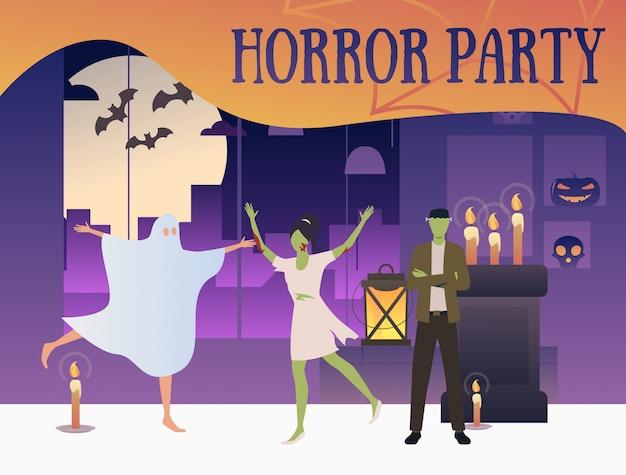 Banner de festa de horror com zumbis e fantasma Vetor grátis
