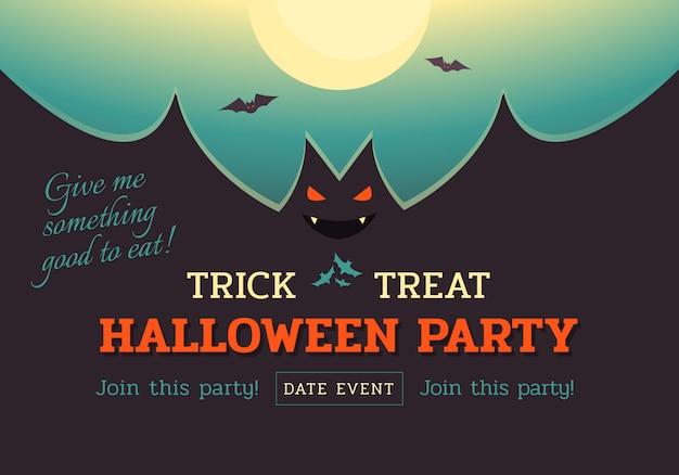 Banner de festa de morcego de halloween Vetor Premium