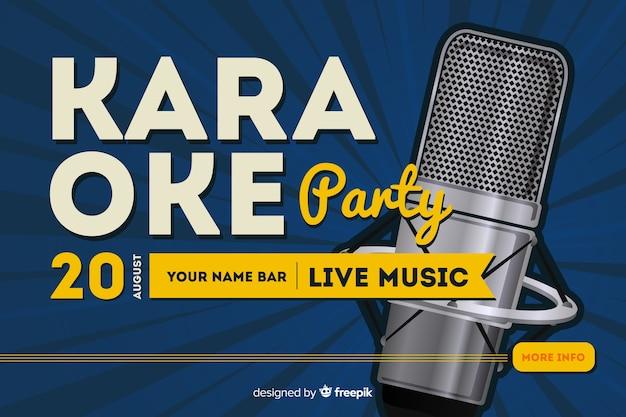 Banner de festa de noite de karaoke ou modelo de folheto Vetor Premium