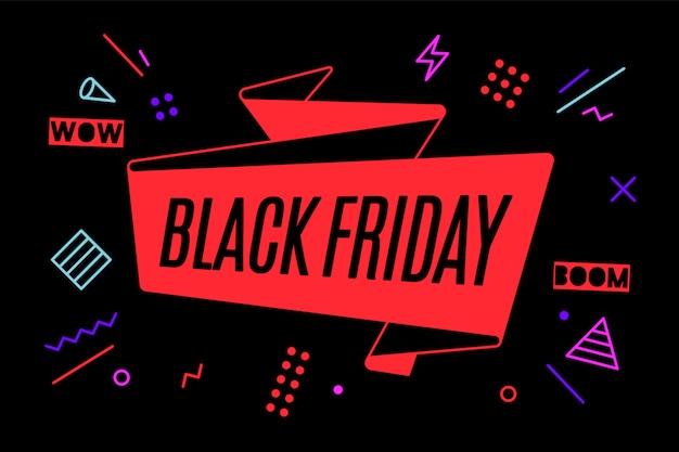 Banner de fita com texto sexta-feira negra Vetor Premium