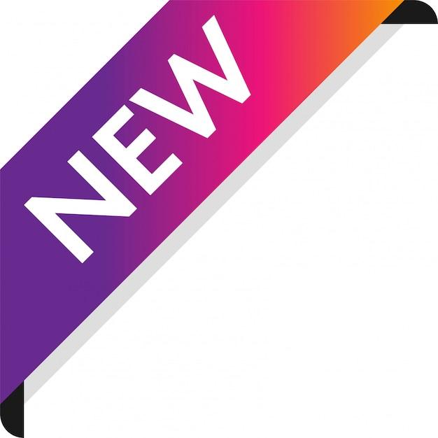 Banner de fita nova de canto Vetor Premium