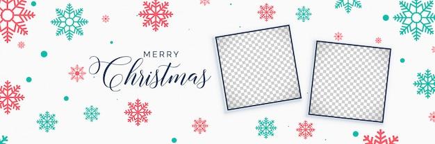 Banner de flocos de neve de natal elegante com espaço de imagem Vetor grátis