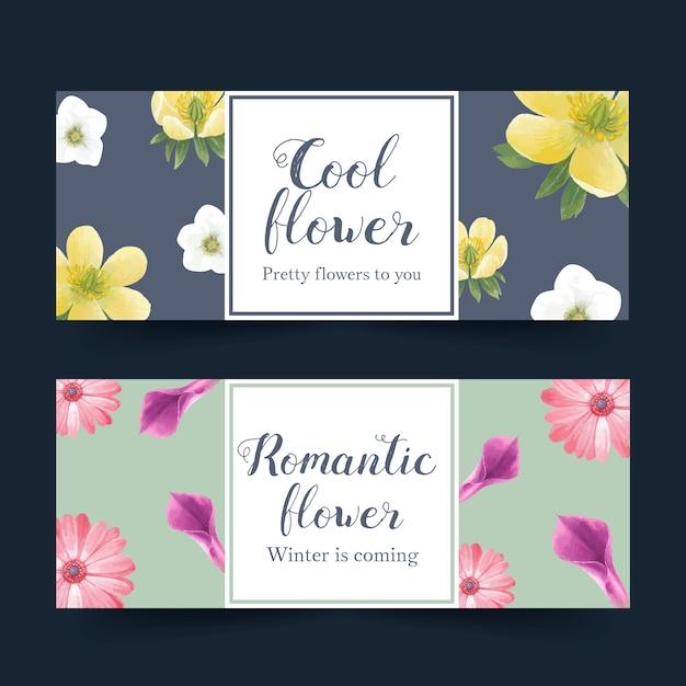 Banner de flor de inverno com lírios, gerbera Vetor grátis