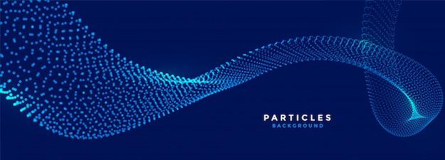 Banner de fluxo azul de partículas de tecnologia brilhando Vetor grátis