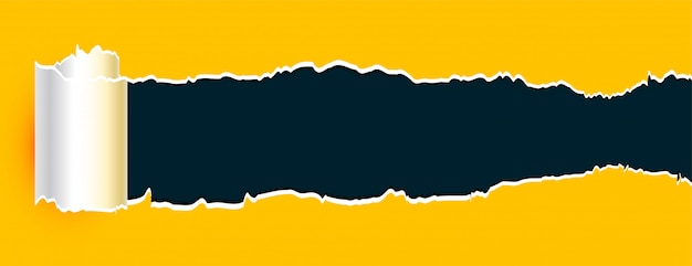 Banner de folha amarela de papel rasgado enrolado Vetor grátis