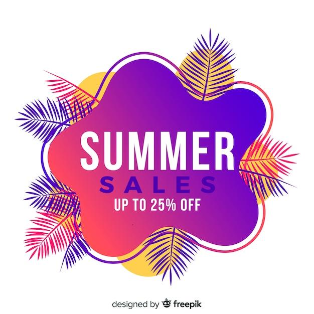 Banner de forma líquida de venda de verão Vetor grátis