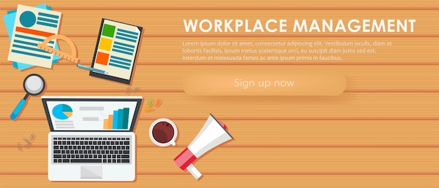 Banner de gerenciamento de local de trabalho. mesa de trabalho, laptop, café. Vetor grátis