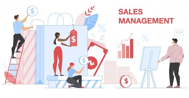 Banner de gerenciamento de vendas. estatística financeira. Vetor Premium