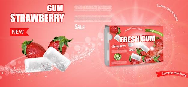 Banner de goma de morango Vetor Premium
