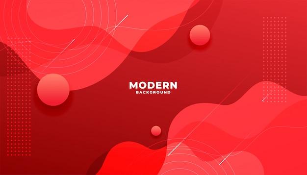 Banner de gradiente vermelho fluido moderno com formas de curva Vetor grátis