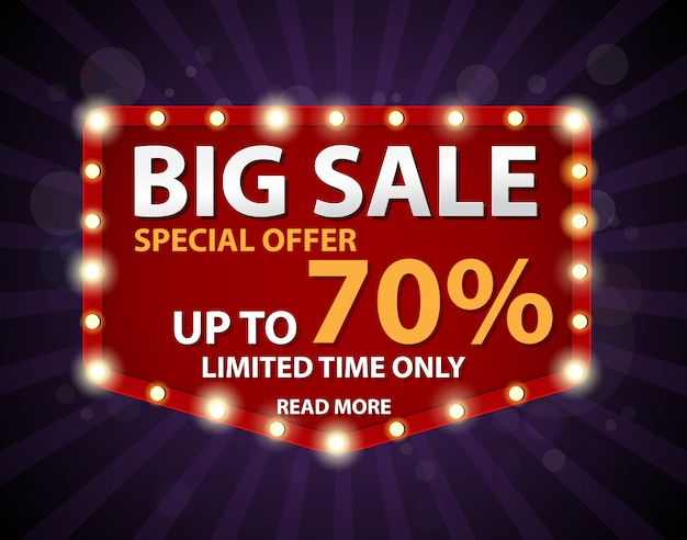 Banner de grande venda com sinal retrô Vetor Premium