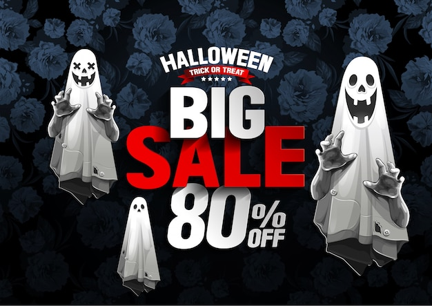 Banner de grande venda de halloween com fantasma no fundo da flor Vetor Premium