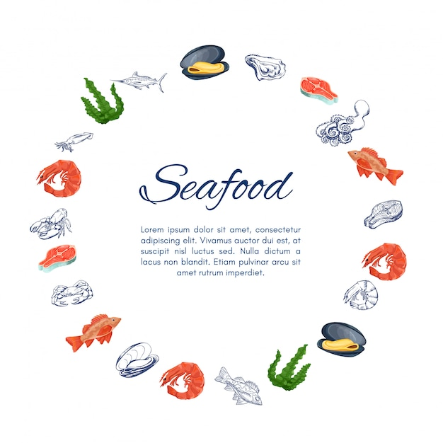 Banner de grinalda de frutos do mar com ícones coloridos Vetor Premium