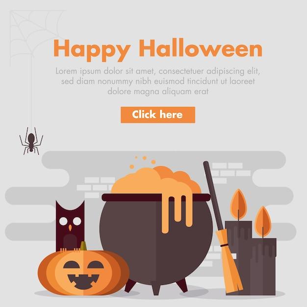Banner de halloween design plano Vetor Premium