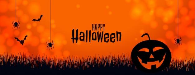 Banner de halloween laranja com abóbora aranha e morcegos Vetor grátis
