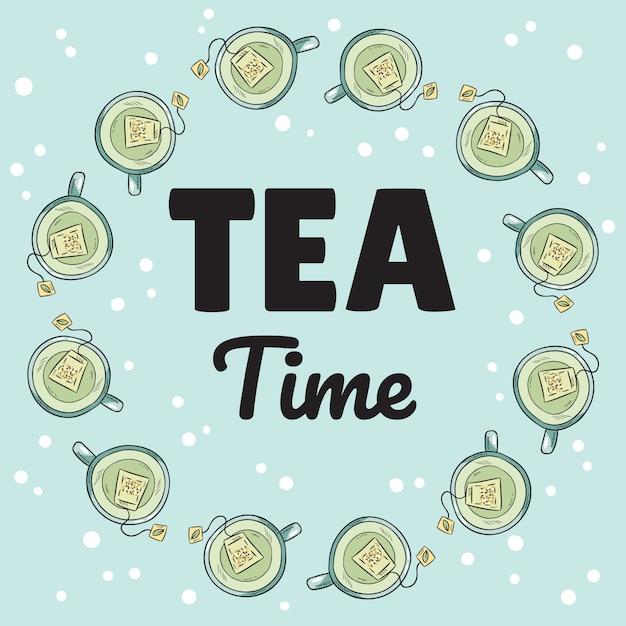 Banner de hora do chá com xícaras de chá verde Vetor Premium
