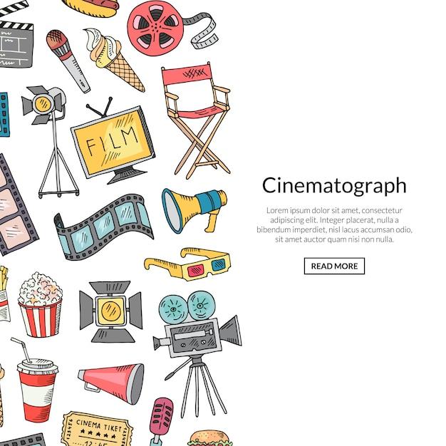 Banner de ícones de doodle de cinema Vetor Premium