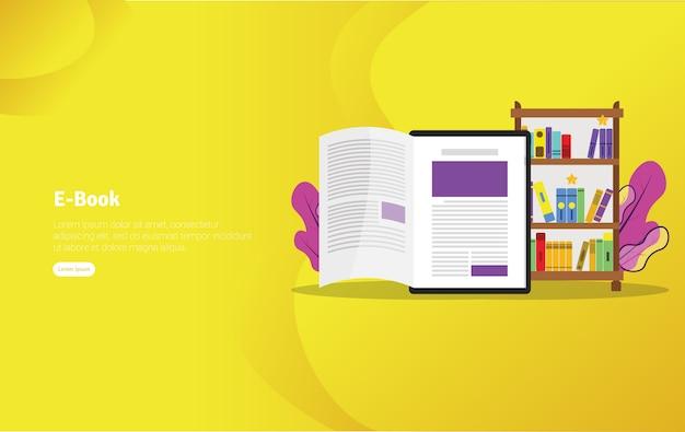 Banner de ilustração de conceito de livro eletrônico Vetor Premium