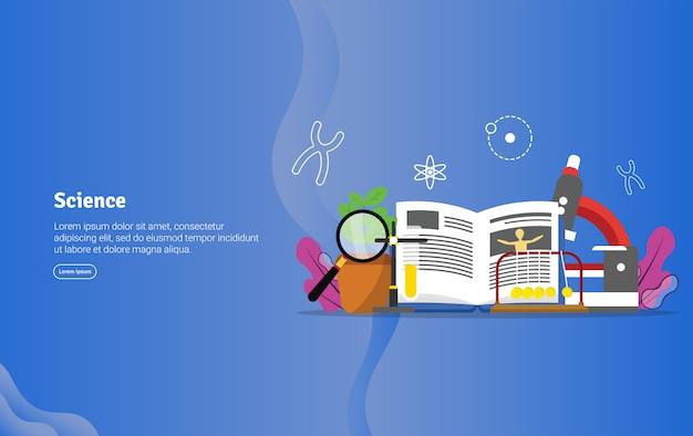 Banner de ilustração educacional conceito de ciência Vetor Premium