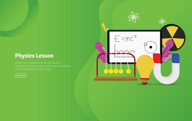 Banner de ilustração educacional de conceito de lição de física Vetor Premium