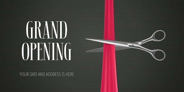 Banner de inauguração com uma tesoura cortando a fita vermelha para a cerimônia de abertura Vetor Premium