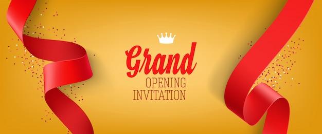 Banner de inauguração convite amarelo com fita vermelha Vetor grátis