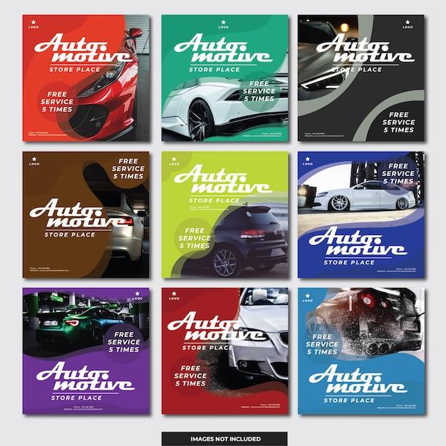 Banner de instagram de mídia social (carro automotivo) Vetor Premium