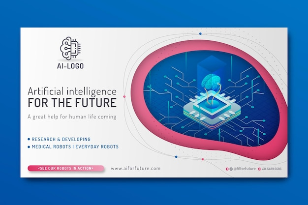 Banner de inteligência artificial Vetor Premium