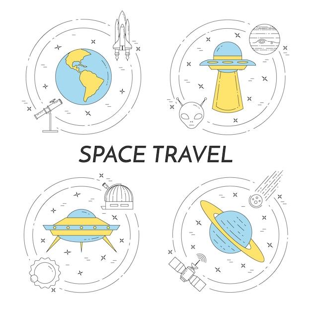 Banner de linha de viagens espaciais com pictogramas de cosmos. Vetor Premium