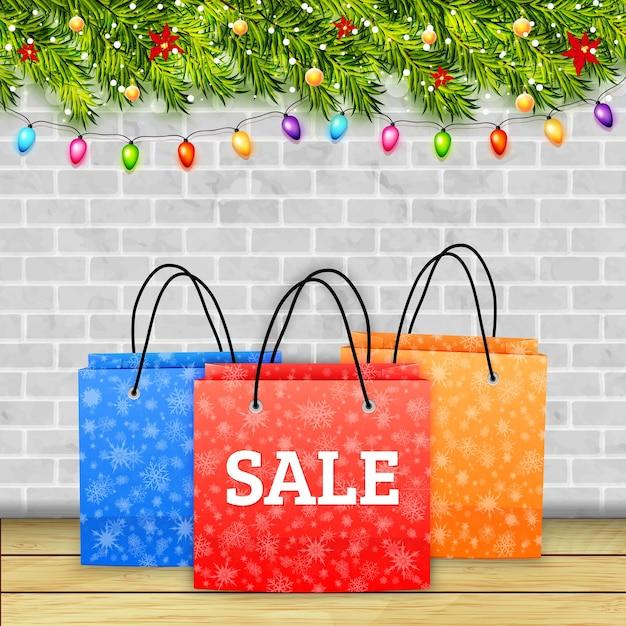 Banner de liquidação de compras de natal Vetor Premium
